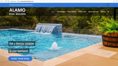 Alamo Pool Builders Website Design San Antonio